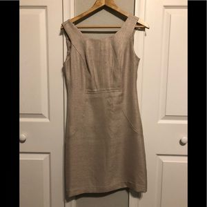 Tan Limited sleeveless dress with front pockets. 4